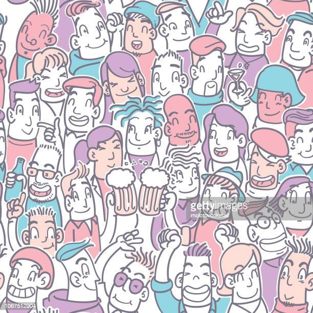 seamless doodle party crowd in pastel color