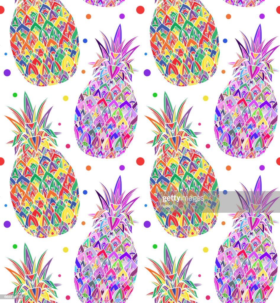 Seamless doodle texture with pop art pineapple. Vector pattern for fabrics, wallpapers, backgrounds and your creativity