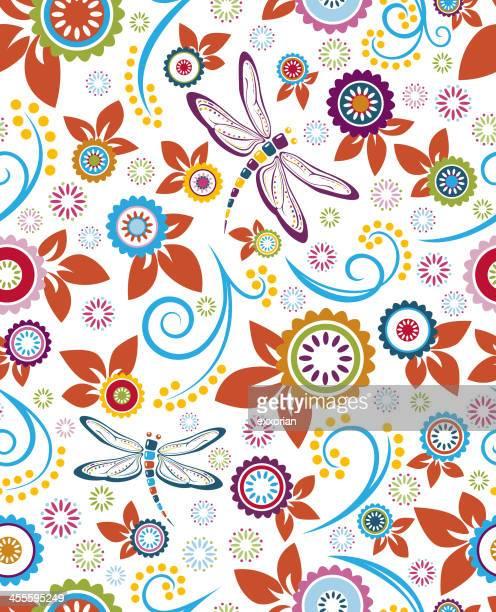 Nahtlose Libelle und Blumenmuster