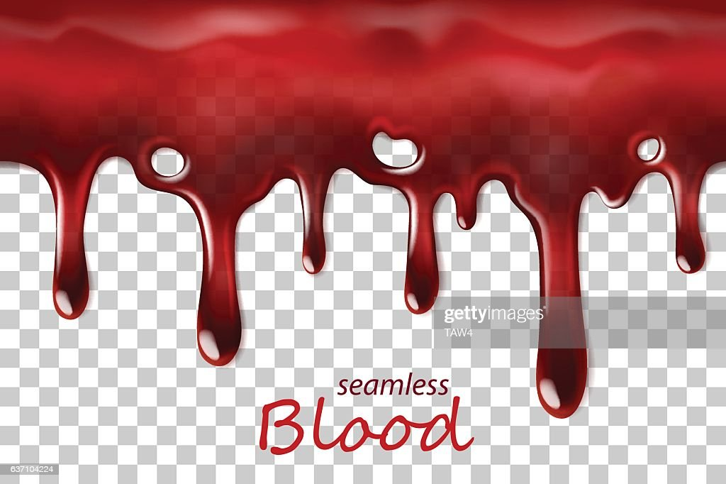 Seamless dripping blood repeatable isolated on transparent