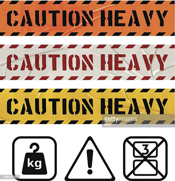 CAUTION HEAVY seamless duct tape banners