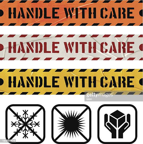 seamless duct tape handle with care banners - fragile sign stock illustrations
