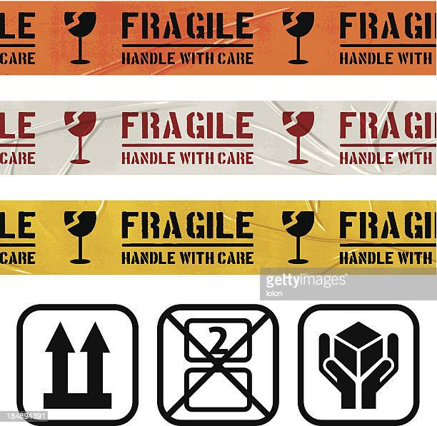seamless duct tape sets_fragile glass - fragile sign stock illustrations