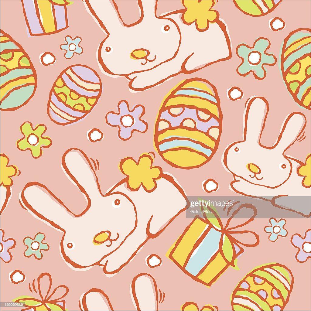 Seamless Easter Bunny Pattern : Vector Art