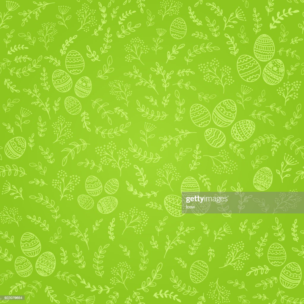 Seamless Easter decorations with eggs on green background