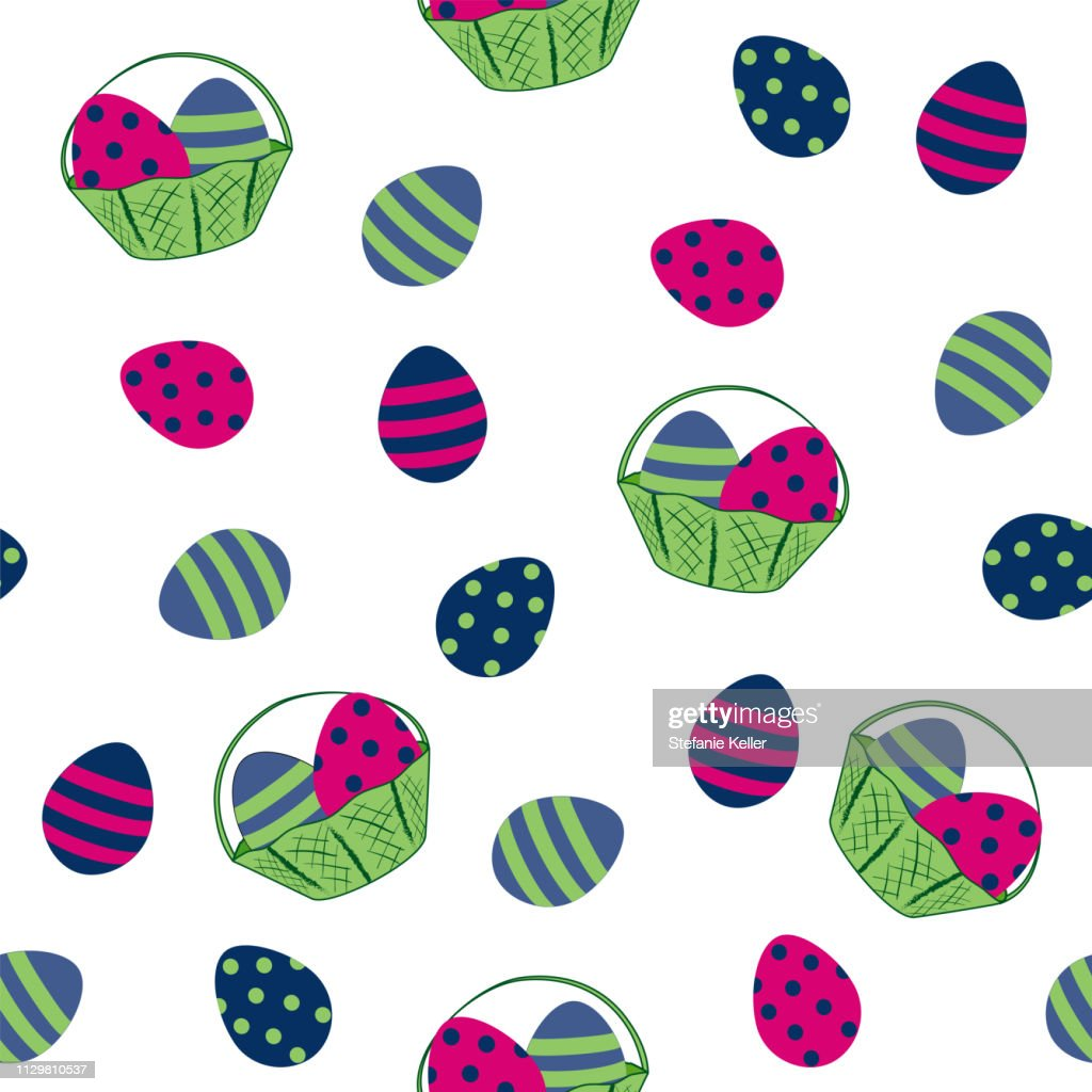seamless easter design with easter eggs and fruit basket.