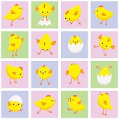 Seamless Eastern pattern with chickens in various poses