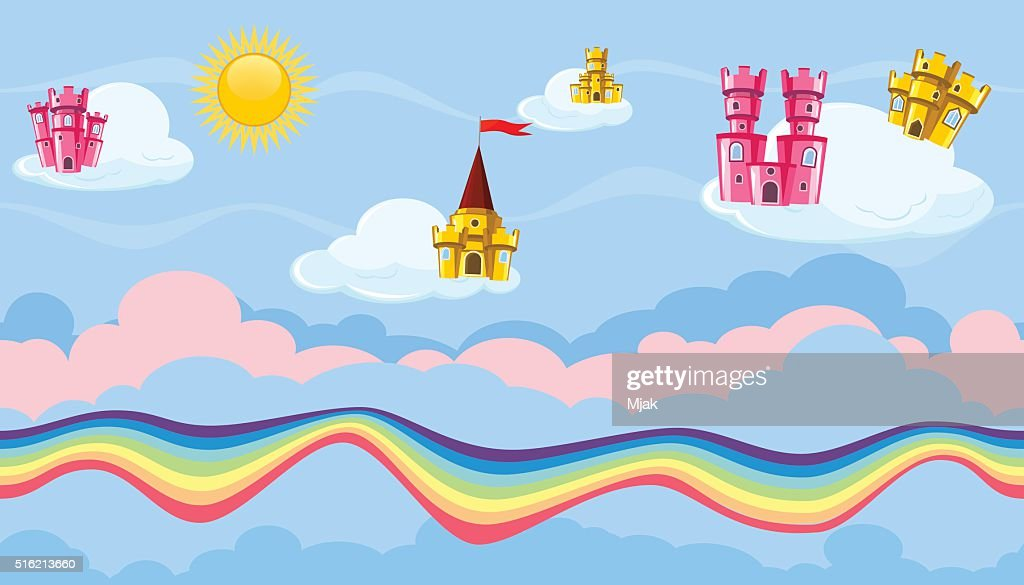 Seamless editable celestial cloudscape colorful castles and rainbow game design