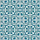 Seamless elegant floral pattern with blue tracery