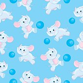 Seamless elephant kids illustration pattern
