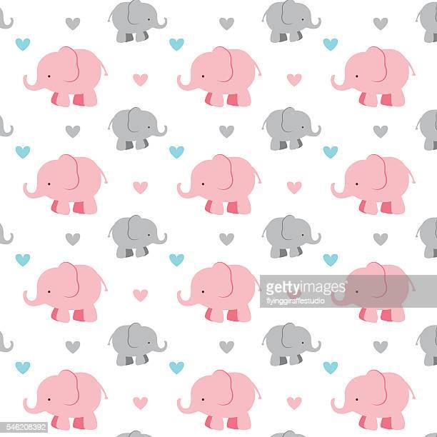 ilustraciones, imágenes clip art, dibujos animados e iconos de stock de seamless elephant pattern - elefante