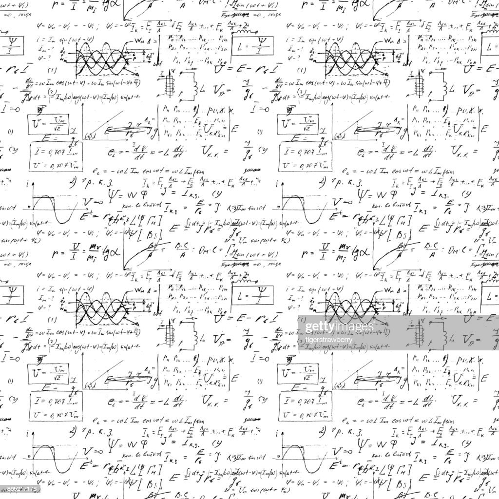 Seamless endless pattern background with handwritten mathematical formulas, math relationship or rules expressed in symbols, various operations such as addition, subtraction, multiplication, division
