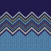 Seamless Ethnic Geometric Knitted Pattern. Style Blue White Gree