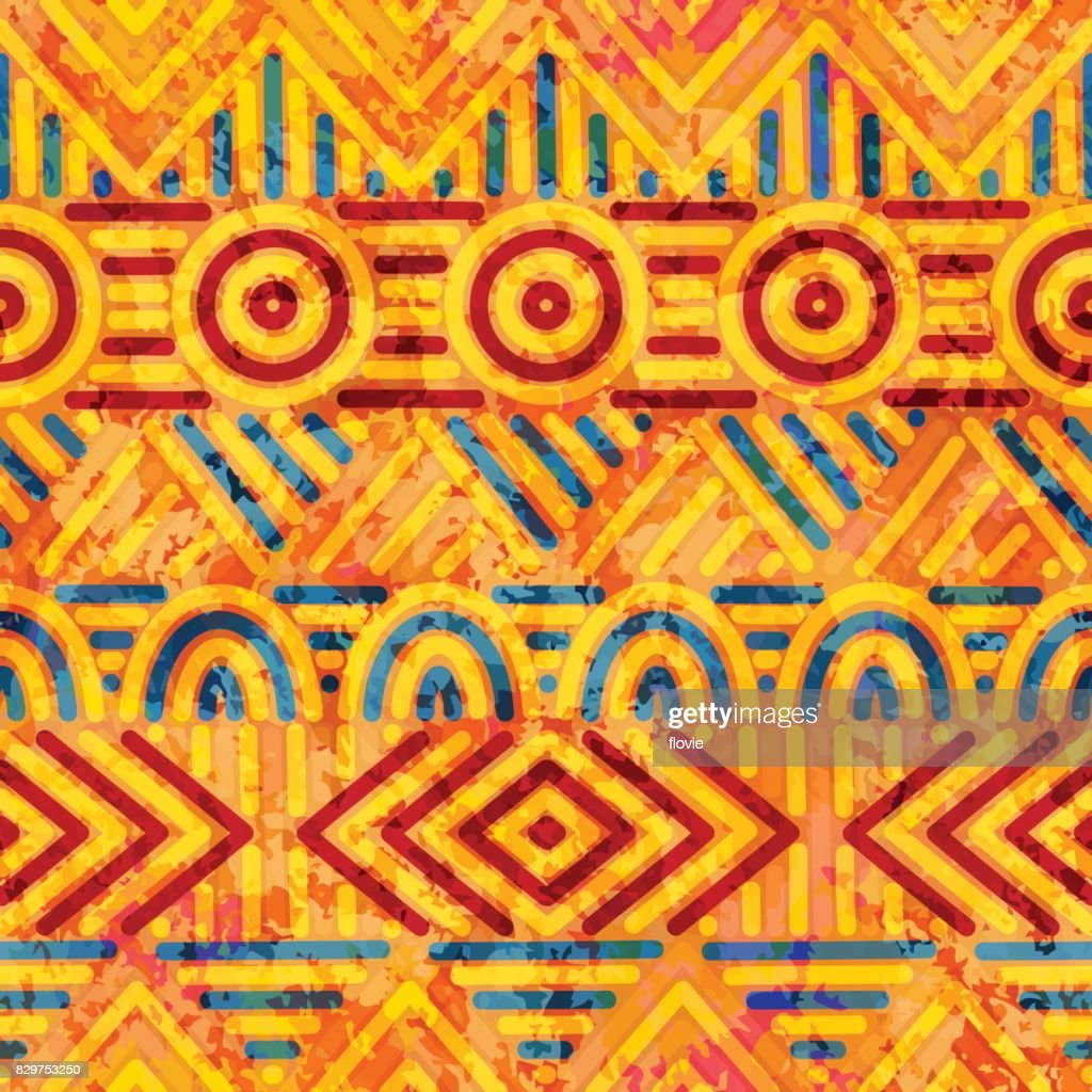 Seamless ethnic pattern. Orange and blue colors.