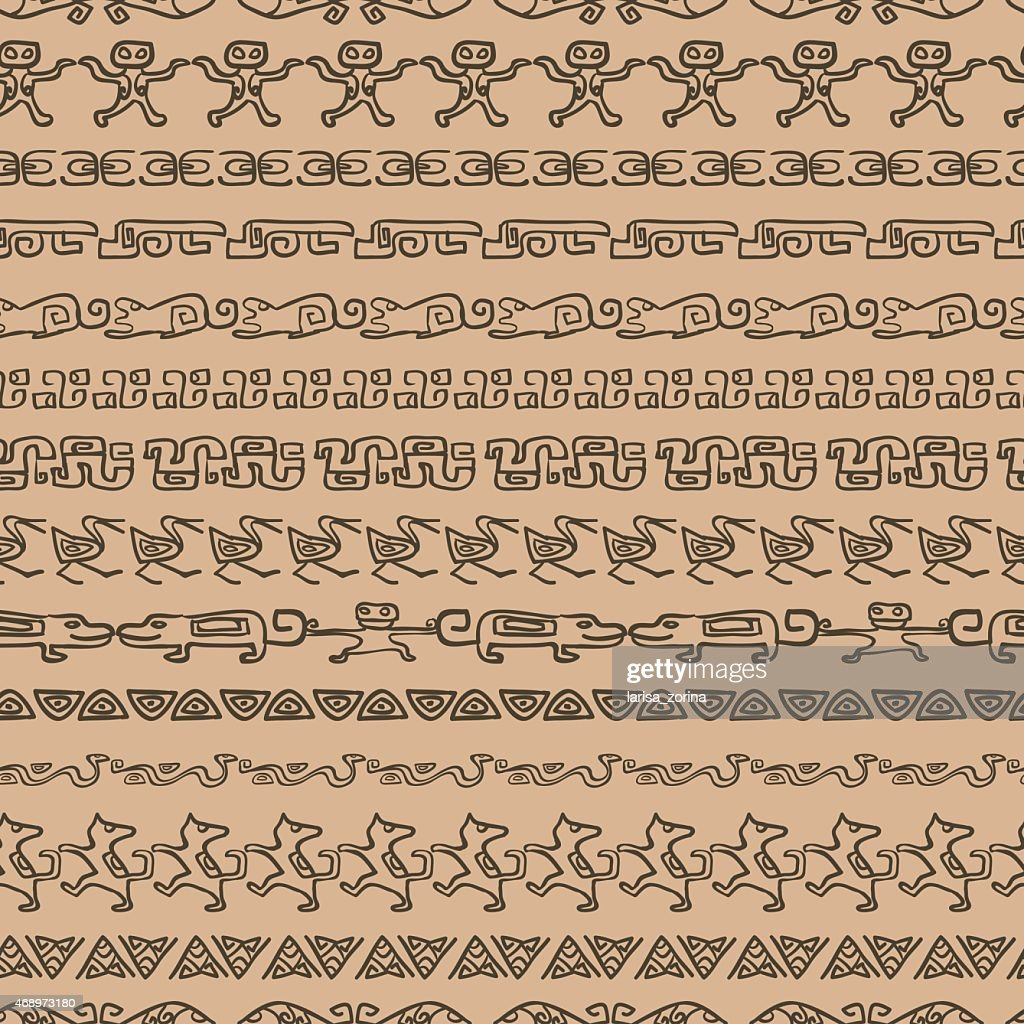 Seamless ethnic pattern with archaeological ornament