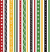 Seamless ethnic pattern with green, yellow, red color stripes