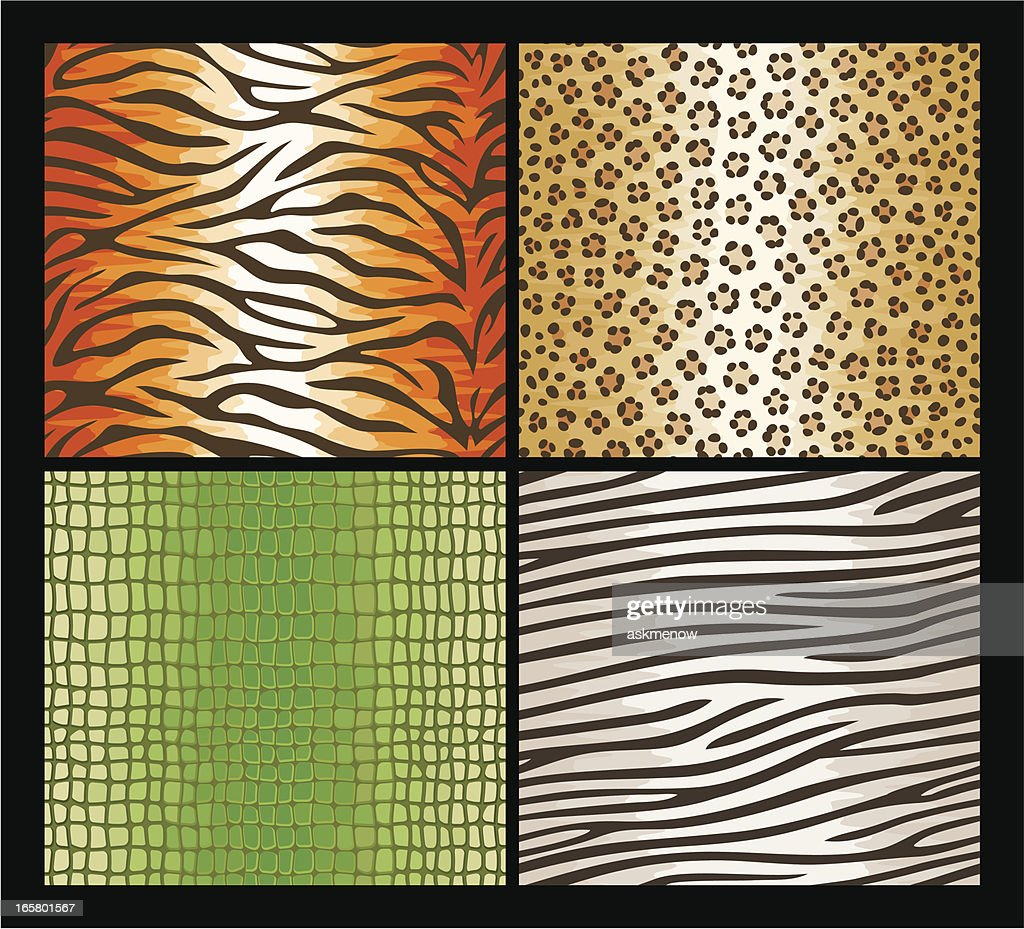 Seamless exotic animals skin patterns