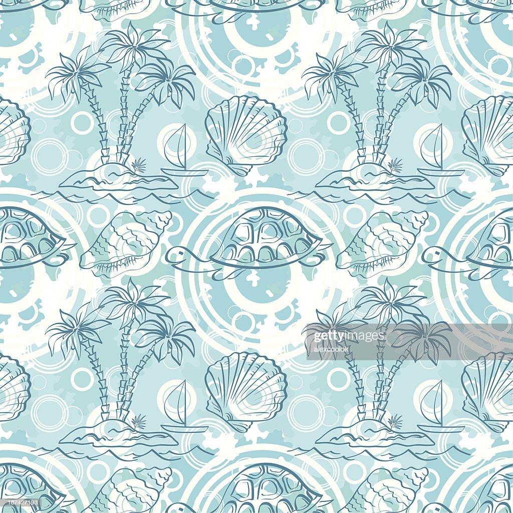 Seamless exotic ocean pattern : Vector Art