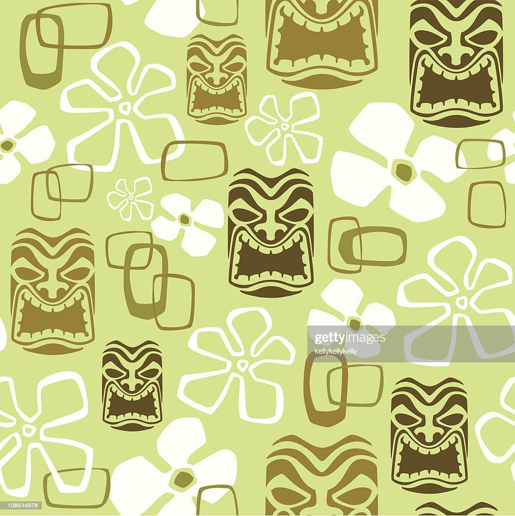 Seamless Exotic Tiki Paradise Pattern