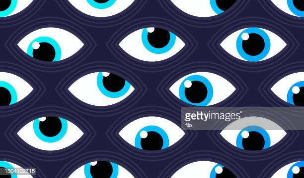 seamless eyes spy abstract background pattern - hypnosis stock illustrations