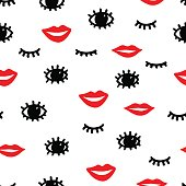 Seamless fashion pattern. Red lips, black eyes and eyelashes on a white background.