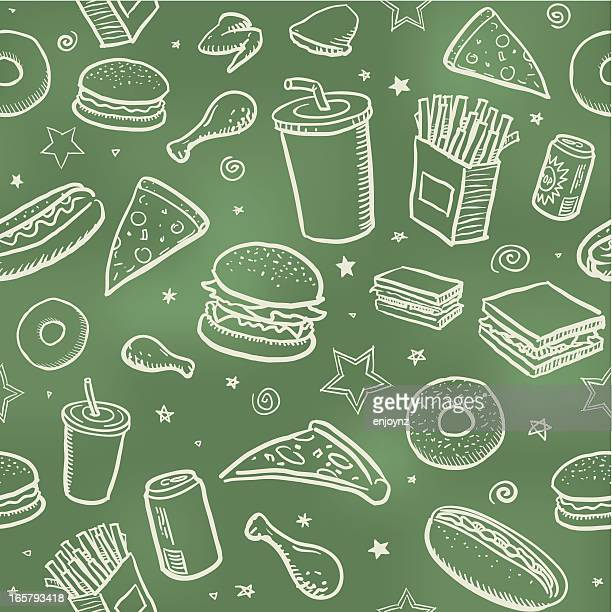 seamless fast food background - donut stock illustrations, clip art, cartoons, & icons