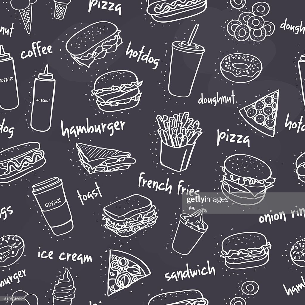 seamless fast food pattern on dark background
