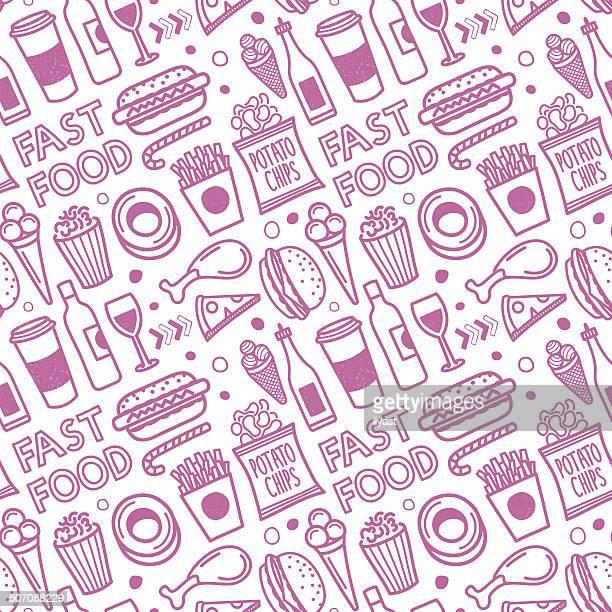 ilustrações, clipart, desenhos animados e ícones de sem costura padrão de fast food - milk shake