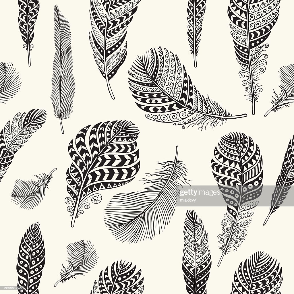 Seamless feathers pattern