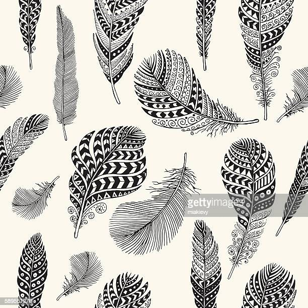 seamless feathers pattern - feather stock illustrations