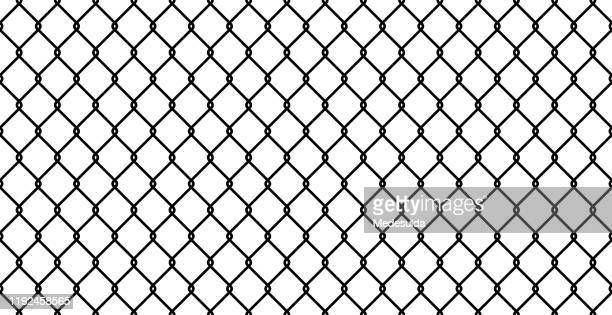 seamless fence vector - wire mesh fence stock illustrations