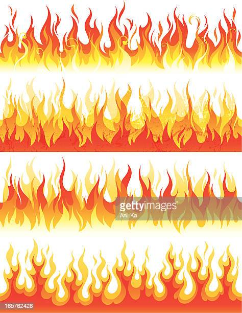 seamless flame - fire natural phenomenon stock illustrations, clip art, cartoons, & icons
