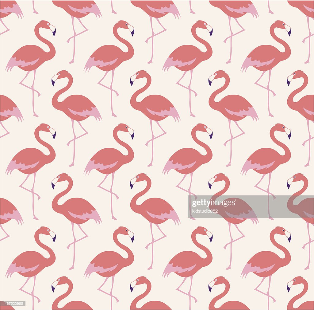 seamless flamingo birds pattern