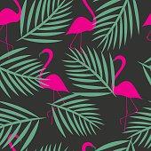Seamless flamingo vector patterns