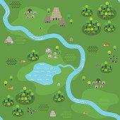 Seamless Flat Jungle Map Pattern