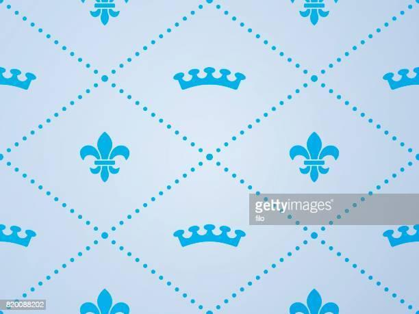 Seamless Fleur De Lys Crown Pattern