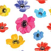 Seamless floral background with colorful flowers. Vector.
