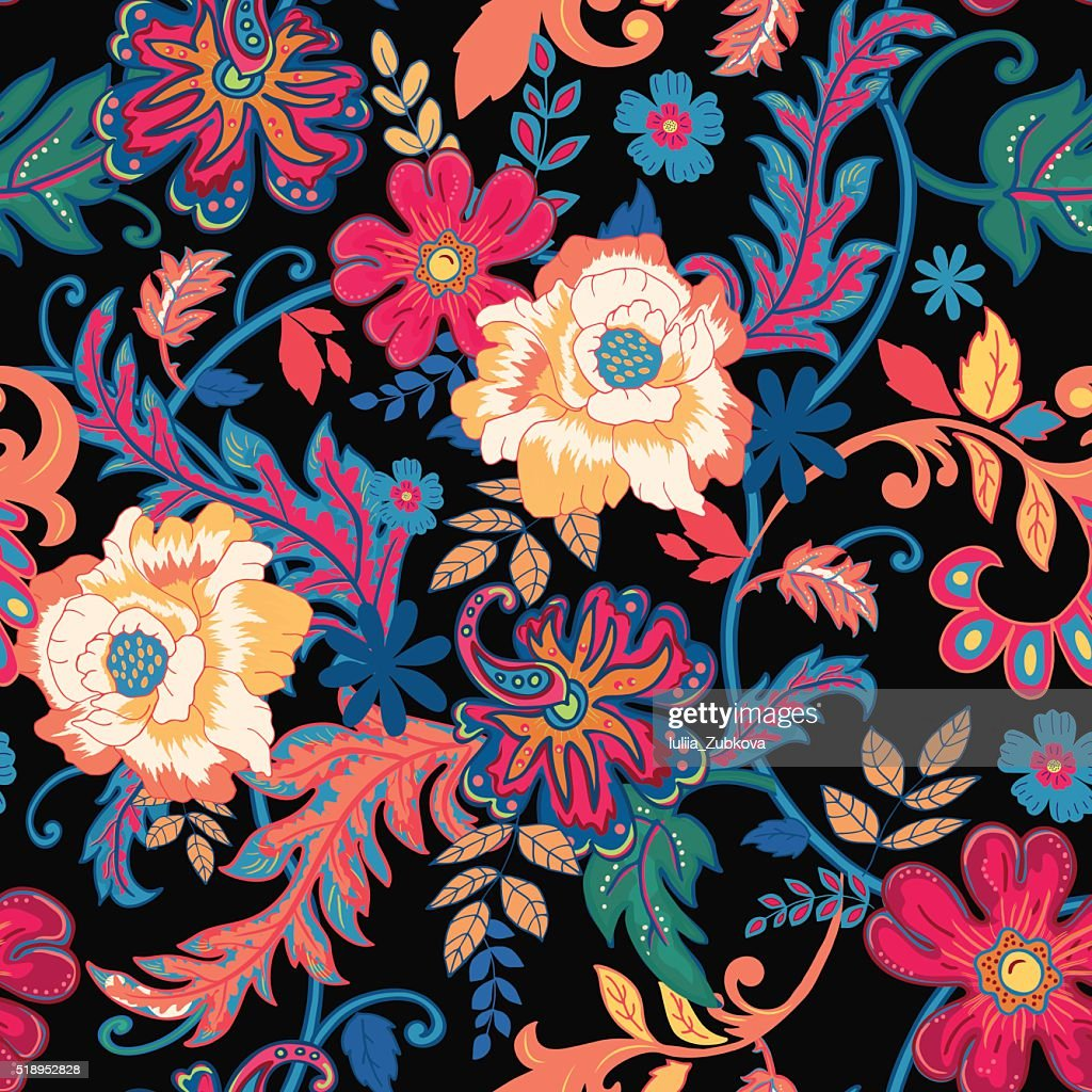 Seamless floral background.Colorful flowers and leafs on black