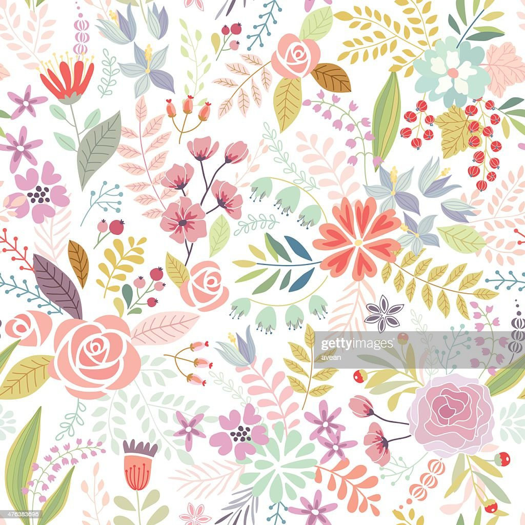 Seamless Floral colorful hand drawn pattern. Vector illustration.