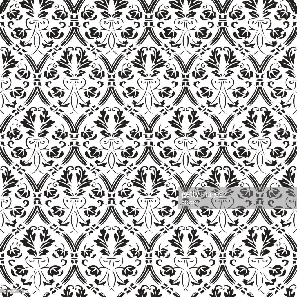 Seamless floral damask background vector