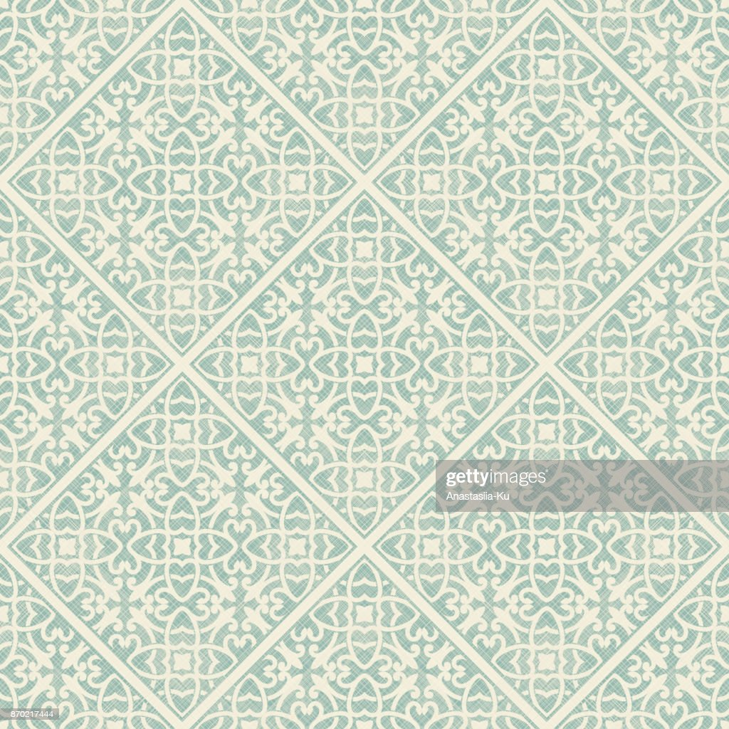 Seamless floral damask background vector.  Vintage element in Eastern style.