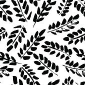 Seamless floral hand-drawn pattern, leaf background (seamlessly