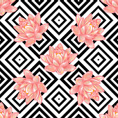 Seamless floral pattern background with tropical pink lotus