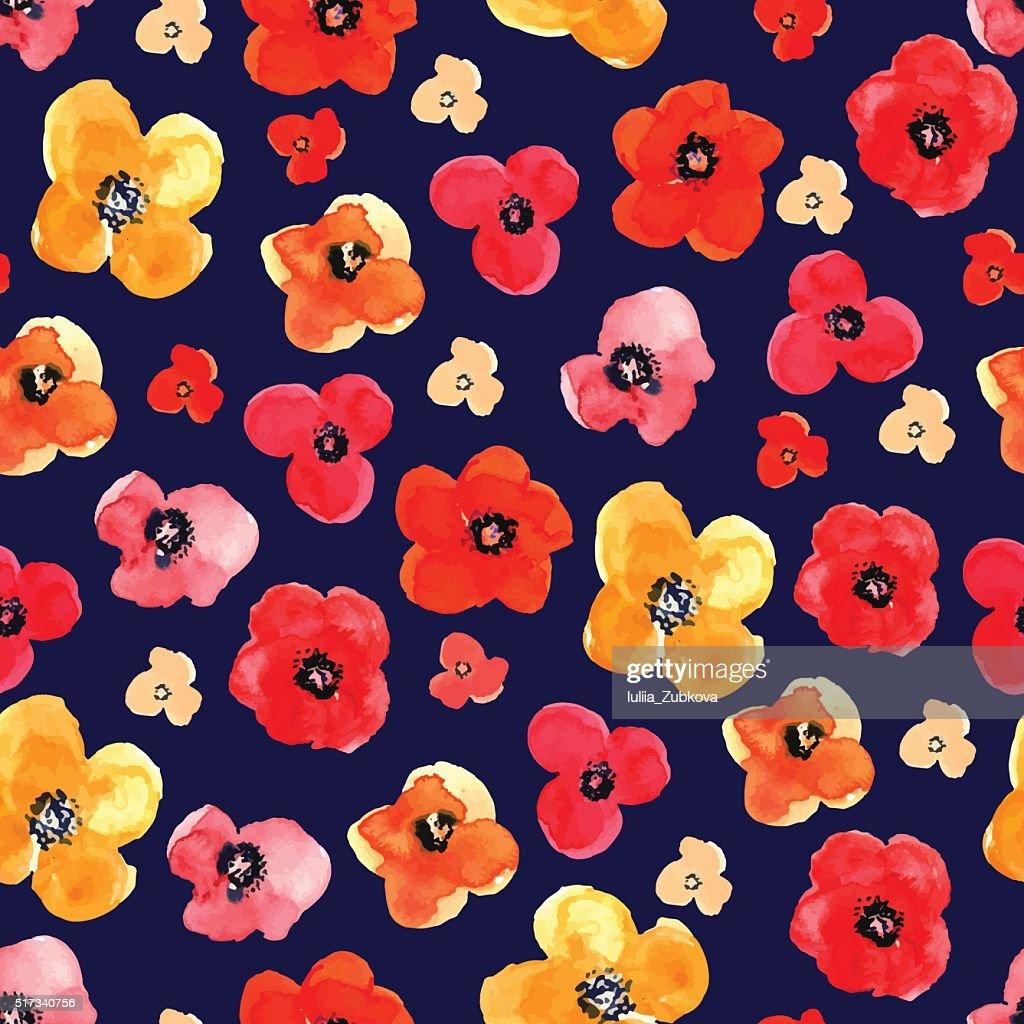 Seamless floral pattern drawn watercolor