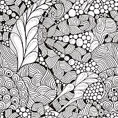 Seamless Floral pattern for coloring book.