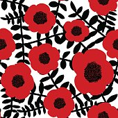 Seamless floral pattern hand drawn abstract red poppy flowers black twigs leaves white background