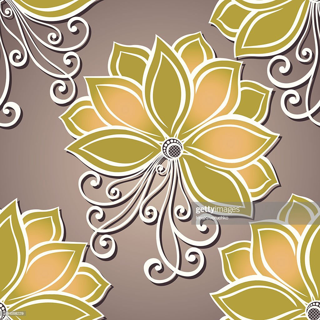 Seamless Floral Pattern (Vector). Hand Drawn Texture