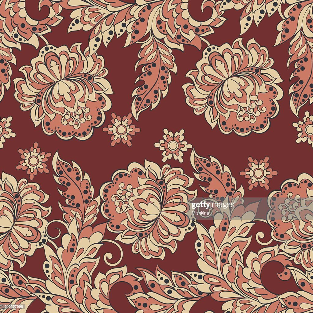 Seamless floral pattern in Damask style. Vintage vector illustration. : Vector Art