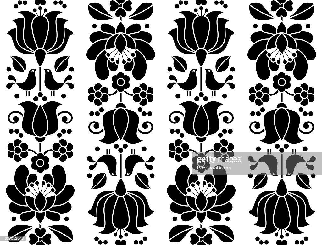 Seamless floral pattern - Kalocsai embroidery - Hungarian folk