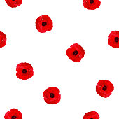 Seamless floral pattern red Poppies flowers on white, tracing, vector, eps 10